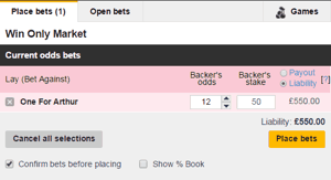 laying bets on the betfair exchange